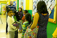 First and second graders leave the classroom after a class in Arabic at P.S. 368-Hamilton Heights School in Harlem in New York on Wednesday, May 23, 2012. The program is the first at the K-5 school level in New York City Public Schools.  © Frances M. Roberts)