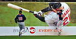 14 March 2009: Boston Red Sox' center fielder Josh Reddick hits the outfield wall in an attempt to catch a home run ball by Nick Markakis, the very player depicted on the wall poster, during a Spring Training game against the Baltimore Orioles at Fort Lauderdale Stadium in Fort Lauderdale, Florida. The Orioles defeated the Red Sox 9-8 in the Grapefruit League matchup. Mandatory Photo Credit: Ed Wolfstein Photo