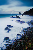 The Wild coast, in a stormy day, in Benijo, Anaga Peninsula, North-east Tenerife. Tenerife  Island, Canary Islands, Spain.