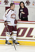 Pat Mullane (BC - 11) - The Boston College Eagles defeated the visiting University of New Hampshire Wildcats 5-2 on Friday, January 11, 2013, at Kelley Rink in Conte Forum in Chestnut Hill, Massachusetts.