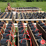 Washington, CT- 04, July 2011-070411CM04 Pyrotechnician,  George Allen, of Falls River, MA preps fireworks at Shepaug Valley High School in Washington Monday afternoon.  Christopher Massa Republican-American