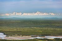 Aerial of the Tanana river and the Alaska range, Fairbanks, Alaska.