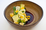 Charred leeks with mussels, apple and wheatgrass
