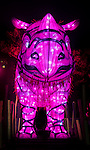 Sumatran Rhino light installation during the Vivid 2016 Sydney Festival at Taronga Zoo, Sydney Australia.