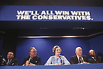 Mrs Margaret Thatcher 1979 General Election press conferance. London Uk Francis Pym, Willie Whitelaw, Margaret Thatcher, George Edward Peter Lord Thorneycroft, Keith Joseph.