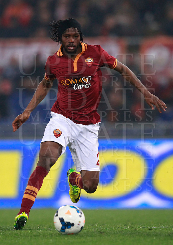 Calcio, Serie A: Roma vs Udinese. Roma, stadio Olimpico, 17 marzo 2014.<br /> AS Roma forward Gervinho, of Ivory Coast, in action during the Italian Serie A football match between AS Roma and Udinese at Rome's Olympic stadium, 17 March 2014.<br /> UPDATE IMAGES PRESS/Isabella Bonotto