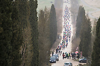 peloton on sector 2<br /> <br /> 11th Strade Bianche 2017