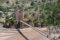 Restored suspension bridge between Chuquisaca and Potosi departments in Bolivia