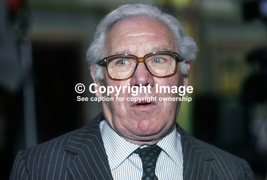 Lord King, aka Baron King of Wartnaby, aka, Sir John King, chairman, British Airways, at Labour Party annual conference 1990. 19901007001..© Victor Patterson, 54 Dorchester Park, Belfast, N Ireland. Tel: +44 2890661296; Mobile: +44 7802 353836; Emails: victorpatterson@me.com & victorpatterson@gmail.com; www.victorpatterson.com