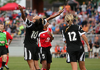 BOYDS, MARYLAND - July 21, 2012:  Lianne Sanderson (10) of DC United Women celebrates her second goal assisted by Hayley Siegel (12) against the Virginia Beach Piranhas during a W League Eastern Conference Championship semi final match at Maryland Soccerplex, in Boyds, Maryland on July 21. DC United Women won 3-0.