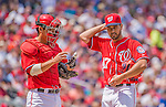 14 April 2013: Washington Nationals pitcher Gio Gonzalez (right) has a chat on the mound with catcher Kurt Suzuki during a game against the Atlanta Braves at Nationals Park in Washington, DC. The Braves shut out the Nationals 9-0 to sweep their 3-game series. Mandatory Credit: Ed Wolfstein Photo *** RAW (NEF) Image File Available ***