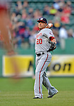 8 June 2012: Washington Nationals shortstop Ian Desmond tosses some ball prior to a game against the Boston Red Sox at Fenway Park in Boston, MA. The Nationals defeated the Red Sox 7-4 in the opening game of their 3-game series. Mandatory Credit: Ed Wolfstein Photo