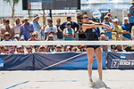 GULF SHORES, AL - MAY 07:  Anika Wilson (14) of  Pepperdine hits the ball during the Division I Women's Beach Volleyball Championship held at Gulf Place on May 7, 2017 in Gulf Shores, Alabama.The University of Southern California defeated Pepperdine 3-2 to claim the national championship. (Photo by Stephen Nowland/NCAA Photos via Getty Images)