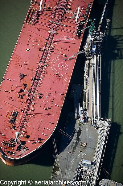 aerial photograph oil tanker Chevron Long Warf, Richmond, California