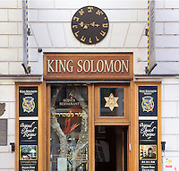 Facade of the King Solomon Kosher restaurant, with a Star of David in the window and a Hebrew clock above, in the Jewish quarter or Josefov, Prague, Czech Republic. The historic centre of Prague was declared a UNESCO World Heritage Site in 1992. Picture by Manuel Cohen