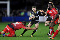 George Ford of Bath Rugby takes on the Toulon defence. European Rugby Champions Cup match, between Bath Rugby and RC Toulon on January 23, 2016 at the Recreation Ground in Bath, England. Photo by: Patrick Khachfe / Onside Images