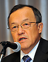 December 7, 2011, Tokyo, Japan - President Shuichi Takayama of the scandal-hit Olympus Corp. speaks during a news conference at a Tokyo hotel on Wednesday, December 07, 2011, a day after an independent panel set up by the Japanese optical equipment company released the results of its investigation into the companys cover-up of investment losses. Takayama hinted at the news conference that the companys top brass may step down at the next shareholders meeting, most likely in February 2012 at the earliest. Former President Michael Woodford is calling for an extraordinary shareholders meeting to discuss the accounting scandal. (Photo by Natsuki Sakai/AFLO) [3615] -mis-