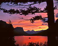 St Mary Lake at sunset in Glacier National Park Montana