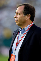 LA Galaxy head coach Bruce Arena prior to the start of the match.           Real Madrid beat the LA Galaxy 3-2 in an international friendly match at the Rose Bowl in Pasadena, California on Saturday evening August 7, 2010.