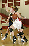 SOUTHBURY, CT, 01/02/08- 010208BZ07- Pomperaug's Nicole Welton (32) backs in to the hoop against Notre Dame's Ashley Tranquillo (10) during their game at Pomperaug High School in Southbury Wednesday night.<br /> Jamison C. Bazinet Republican-American