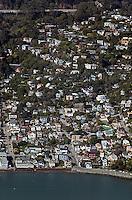 aerial photograph, hillside homes Sausalito, Marin County, California