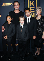 HOLLYWOOD, LOS ANGELES, CA, USA - DECEMBER 15: Brad Pitt; Pax Thien Jolie-Pitt, Shiloh Nouvel Jolie-Pitt, Maddox Jolie-Pitt, Jane Pitt arrive at the Los Angeles Premiere Of Universal Pictures' 'Unbroken' held at the Dolby Theatre on December 15, 2014 in Hollywood, Los Angeles, California, United States. (Photo by Celebrity Monitor)