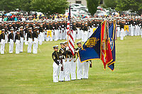 US Naval Academy Color Guard present the colors at the Color Parade at Worden Field on May 21, 2015 in Annapolis.