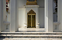 TH00420-00...THAILAND - Entrance to the  Phra Vihara Somdej (S.P.) on the grounds of Bangkok's Wat Benchamabophit Dusitvanaram Ratchaworawiharn, known as the Marble Temple.