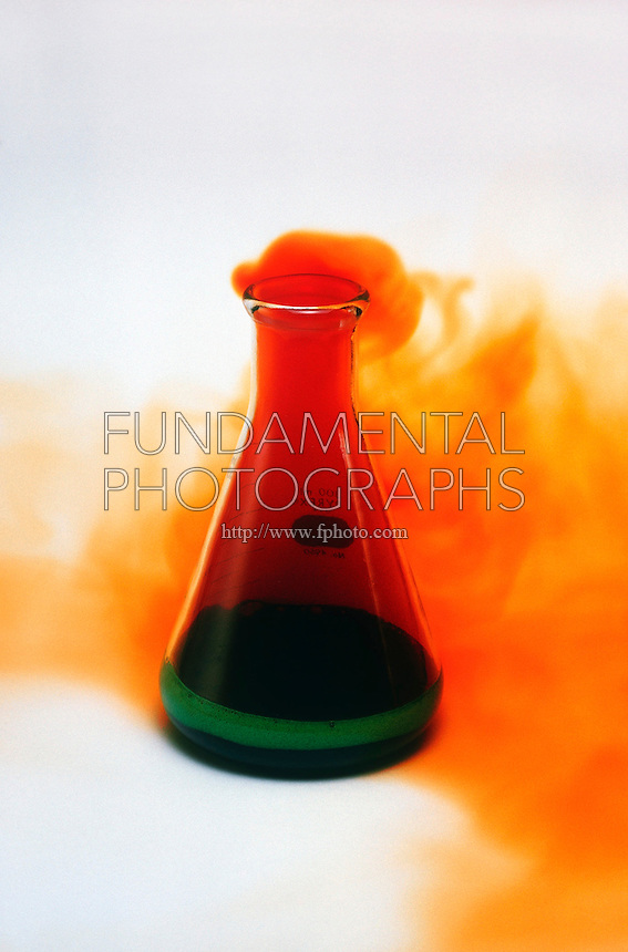 Copper Metal In A Flask Of Nitric Acid