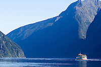 Tourist cruise boat in Milford Sound, New Zealand