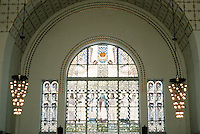 Otto Wagner: Church AM Steinhof, Vienna. South window--glass by Kolo Moser.
