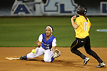 CHAPEL HILL, NC - FEBRUARY 24: Hampton's Daniella Milloy (16) catches Towson's Madison Wilson (17) trying to steal second base. The Hampton University Pirates played the Towson University Tigers on February, 24, 2017, at Anderson Softball Stadium in Chapel Hill, NC in a Division I College Softball match. Towson won 17-2 in a five inning run-rule game.