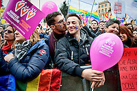 Lgbt demonstration against of the bill on civil union in Rome
