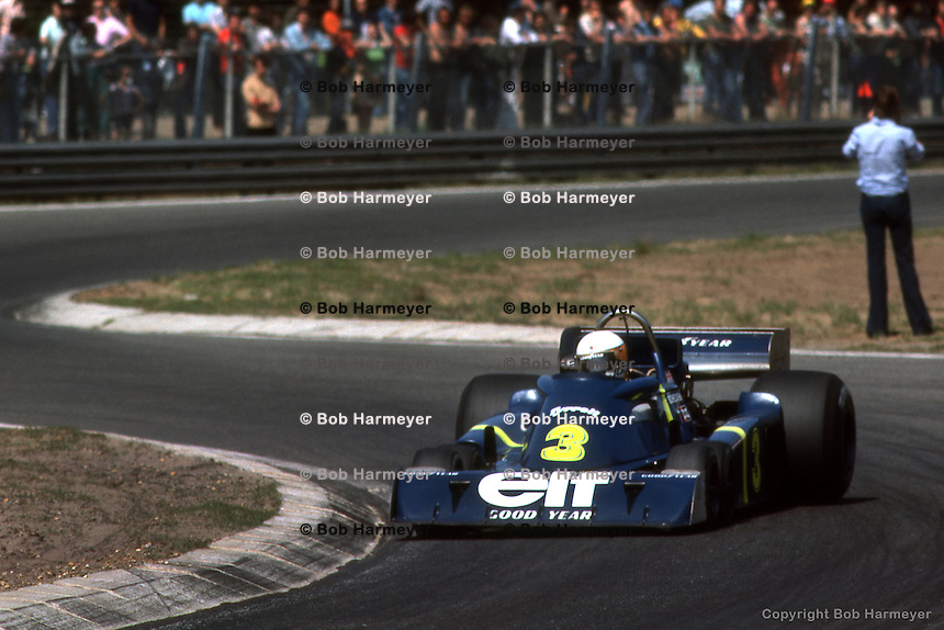 HEUSDEN-ZOLDER, BELGIUM: Jody Scheckter drives the six-wheel Tyrrell P34 3/Ford Cosworth DFV during practice for the Grand Prix of Belgium on May 16, 1976 at the Circuit Zolder near Heusden-Zolder, Belgium.