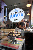 Looking through window at Cupcake Jones in The Pearl in Portland, Oregon