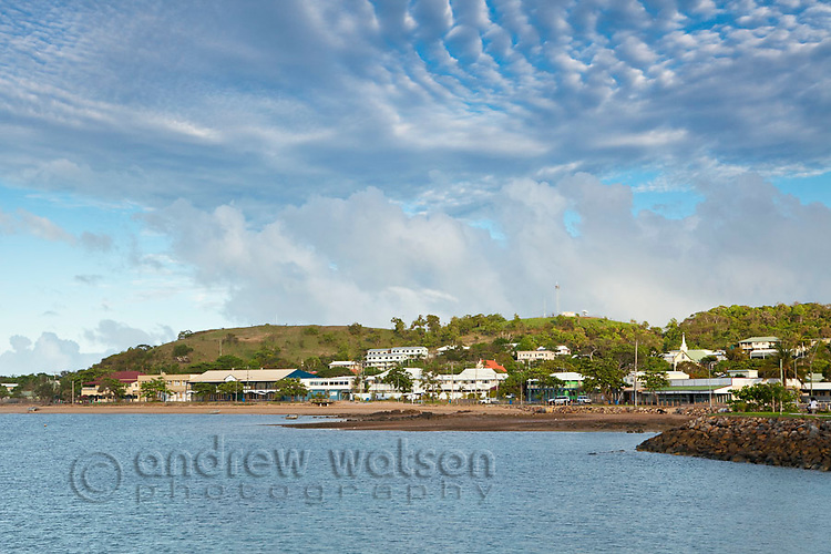 Thursday Island township with Green Hill in the background.  Thursday Island, Torres Strait Islands, Queensland, Australia