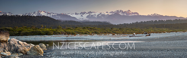 Spectacular views of Southern Alps from beach near Okarito. Mt. Tasman and Mt. Cook, Westland National Park, World Heritage Area, South Westland, West Coast, New Zealand