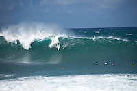 BANZAI PIPELINE, Oahu/Hawaii (Friday, December 9, 2011) Evan Valiere (HAW). – The Billabong Pipe Masters in Memory of Andy Irons ran for the second consecutive day with firing 10 foot (3-4 metre metre) waves. Today's proceedings commenced with Round 3 and completed Rounds 4 and 5 by day's end...The Final stop on the 2011 ASP World Title Series and the third Jewel of the Vans Triple Crown, the Billabong Pipe Masters plays a vital role in both qualification campaigns for the ASP Top 34 for 2012 while representing the deciding event for the prestigious Hawaiian trifecta title...John John Florence (haW) was the standout again today score a perfect 10 point ride in each of his heats and advancing to the quarter finals. Kelly Slater (USA), Joel Parkinson (AUS) and Gabriel Medina (BRA) also advanced tot eh quarter finals.  Photo: joliphotos.com