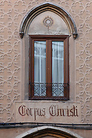 Window, Corpus Christi Church, 14th century, formerly the Main Synagogue, Segovia, Castile and Leon, Spain. The Synagogue was confiscated and  converted into a Christian Church 1419, and became a Convent of the Order of St Clare. The entrance is through a courtyard. The building was destroyed by fire, 1899, and restored 1902-2004. The interior is Moorish in style. Picture by Manuel Cohen