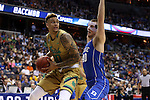 10 March 2016: Notre Dame's Zach Auguste (30) and Duke's Marshall Plumlee (40). The University of Notre Dame Fighting Irish played the Duke University Blue Devils at the Verizon Center in Washington, DC in the Atlantic Coast Conference Men's Basketball Tournament quarterfinal and a 2015-16 NCAA Division I Men's Basketball game. Notre Dame won the game 84-79 in overtime.