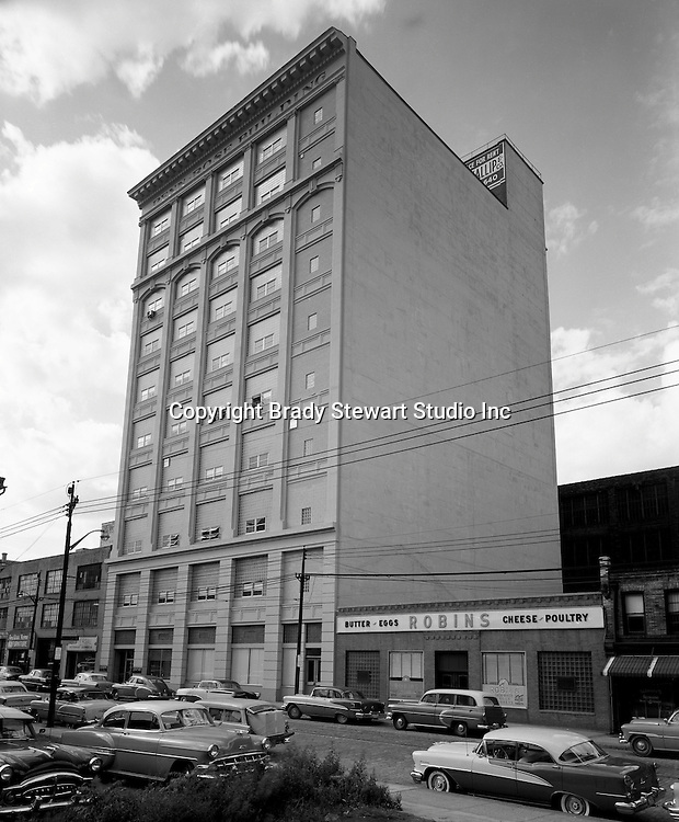 Pittsburgh PA:  View of the Penn Rose Building in the Strip District of Pittsburgh - 1954. Building was located in the Strip District of Pittsburgh