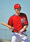 19 February 2011: Washington Nationals' pitcher Stephen Strasburg works on batting drills at the Carl Barger Baseball Complex in Viera, Florida. Mandatory Credit: Ed Wolfstein Photo