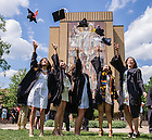 May 18, 2014; Graduates celebrate on Library Quad, 2014 Commencement.<br /> <br /> Photo by Matt Cashore/University of Notre Dame