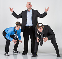 NWA Democrat-Gazette/ANTHONY REYES @NWATONYR<br /> Obi Smith (from left) of Bentonville, James Rappe, Bentonville head wrestling coach, and Luke Brandon, of Bentonville, Wednesday, March 8, 2017 in Springdale. Smith is the Wrestling Newcomer of the year, Rappe is the All-NWADG Wrestling Coach of the Year and Brandon is the Wrestling of the Year.