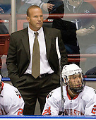 Greg Cronin (Northeastern - Head Coach), Drew Daniels (Northeastern - 24) - The visiting Rensselaer Polytechnic Institute Engineers tied their host, the Northeastern University Huskies, 2-2 (OT) on Friday, October 15, 2010, at Matthews Arena in Boston, MA.
