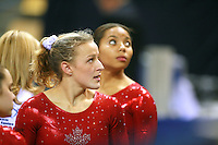 Oct 16, 2006; Aarhus, Denmark; Portrait is of Crystal Gilmore of Canada after balance beam routine during women's gymnastics team competition at 2006 World Championships Artistic Gymnastics. Photo by Tom Theobald