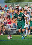 5 September 2014: University of Vermont Catamount Defender Arthur Bacquet, a Freshman from Bruxelles, Belgium, in action against the La Salle University Explorers at Virtue Field in Burlington, Vermont. The Catamounts, playing a man down for 66 minutes, defeated the visiting Explorers 2-1 on the first day of the Morgan Stanley Windjammer Classic Men's Soccer Tournament. Mandatory Credit: Ed Wolfstein Photo *** RAW (NEF) Image File Available ***