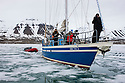 "Norway, Svalbard, boat Arctica as it pushes into a fjord covered with ""fast ice"""