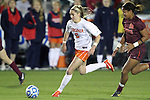 08 November 2013: Virginia's Morgan Brian (6) and Virginia Tech's Candace Cephers (18). The University of Virginia Cavaliers played the Virginia Tech Hokies at WakeMed Stadium in Cary, North Carolina in a 2013 NCAA Division I Women's Soccer match and the semifinals of the Atlantic Coast Conference tournament. Virginia Tech won the game 4-2.