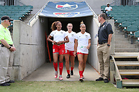 Cary, North Carolina  - Sunday May 21, 2017: Casey Short, Summer Green, and Sarah Gorden prior to a regular season National Women's Soccer League (NWSL) match between the North Carolina Courage and the Chicago Red Stars at Sahlen's Stadium at WakeMed Soccer Park. Chicago won the game 3-1.